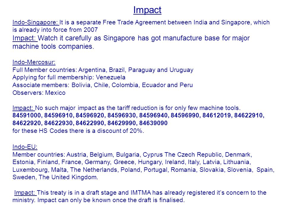 Trade Agreements Its Impact On Machine Tool Industry Ppt Download