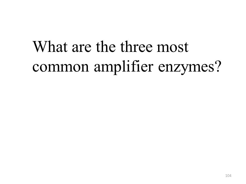 104 What are the three most common amplifier enzymes