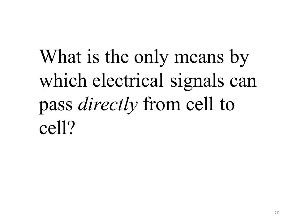 20 What is the only means by which electrical signals can pass directly from cell to cell