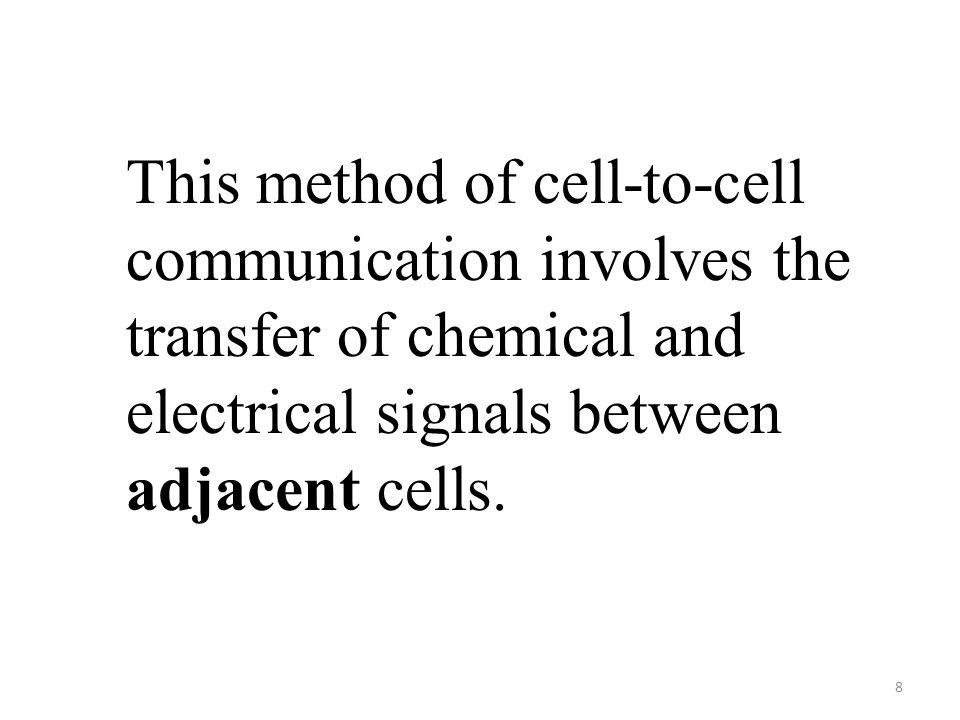8 This method of cell-to-cell communication involves the transfer of chemical and electrical signals between adjacent cells.