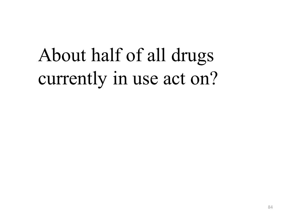84 About half of all drugs currently in use act on