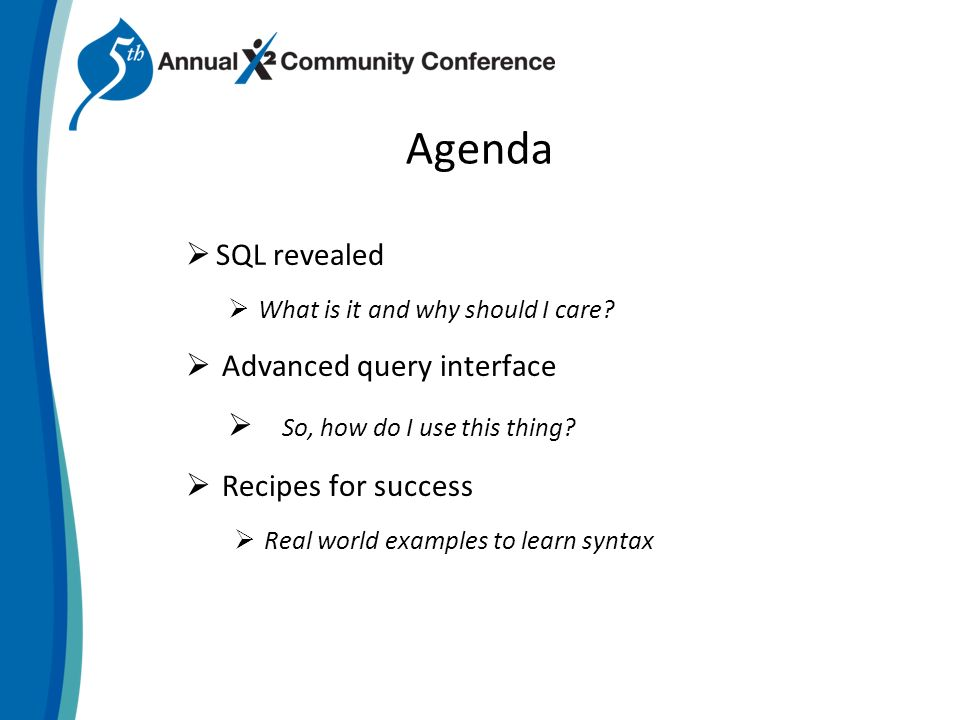 Writing Advanced SQL Queries BKF05 Liz Lucchese  Agenda