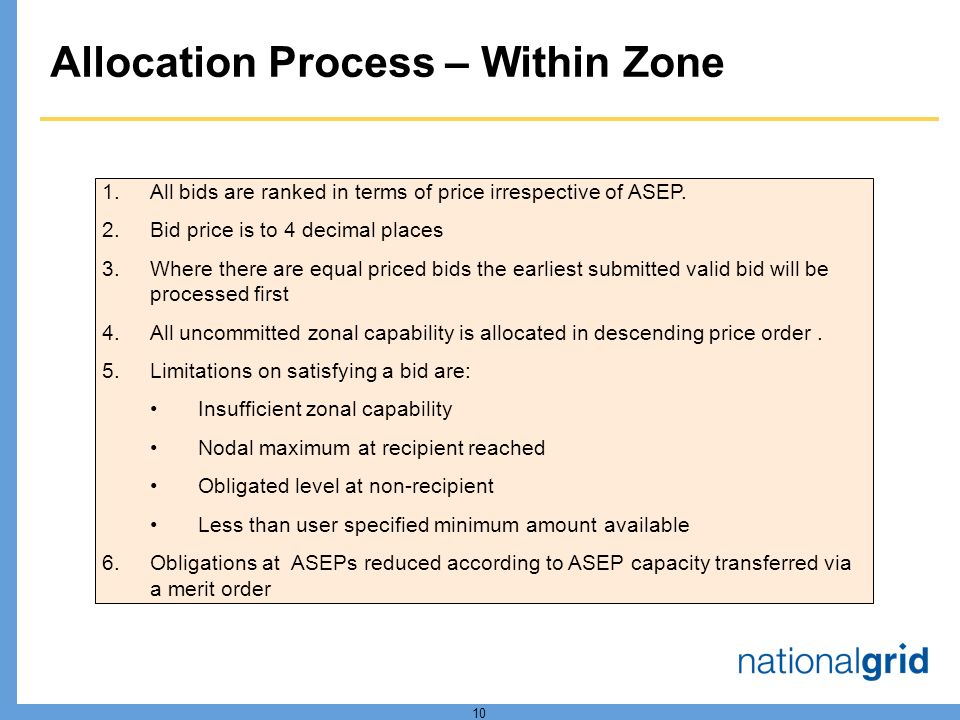 10 Allocation Process – Within Zone 1.All bids are ranked in terms of price irrespective of ASEP.