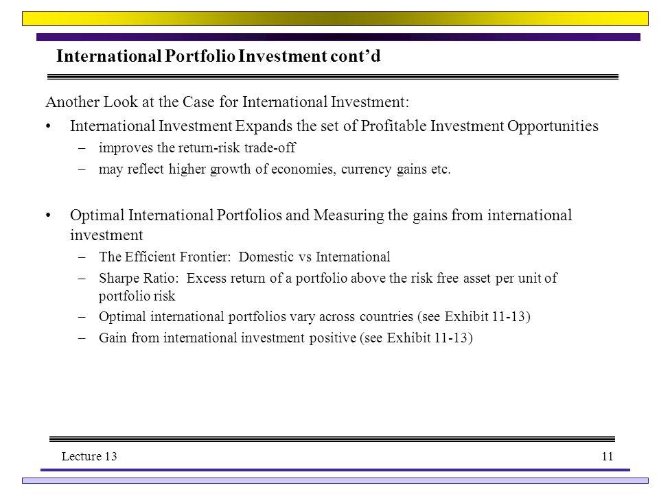international investment risk and return