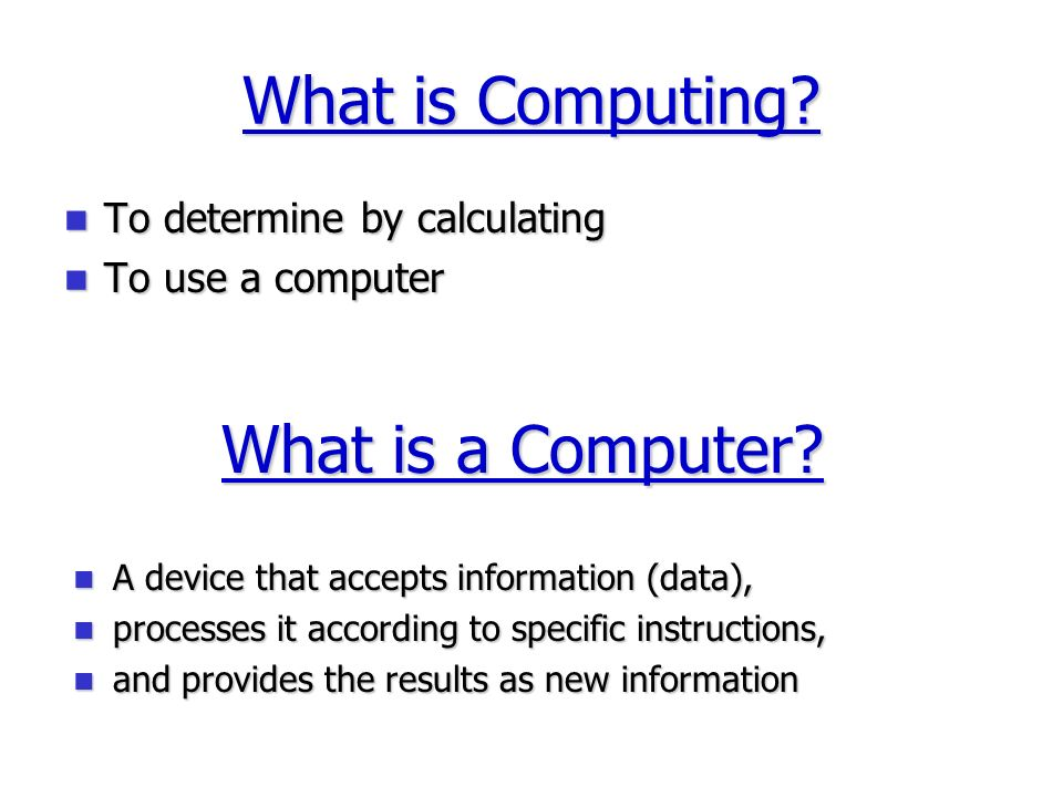 What is Computing.