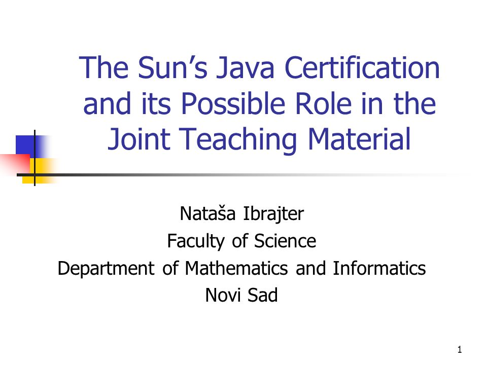 1 The Suns Java Certification And Its Possible Role In The Joint