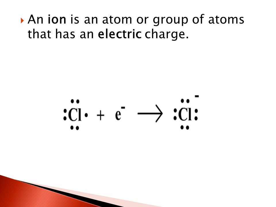  An ion is an atom or group of atoms that has an electric charge.
