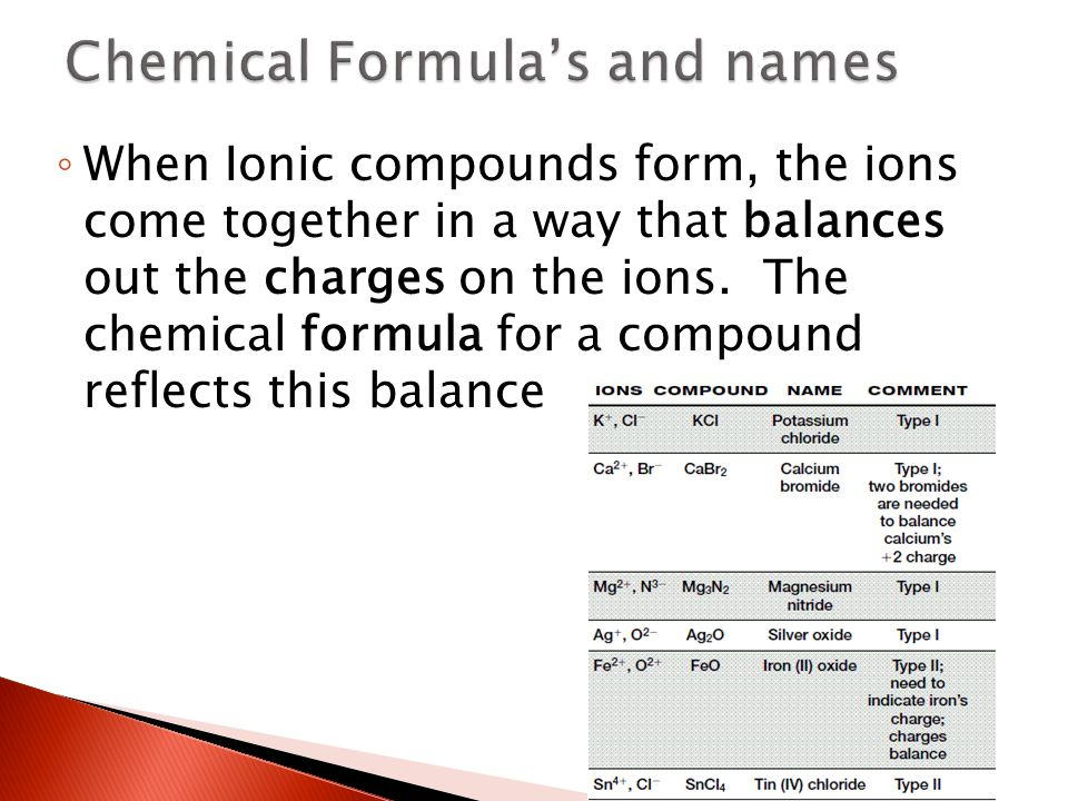 ◦ When Ionic compounds form, the ions come together in a way that balances out the charges on the ions.