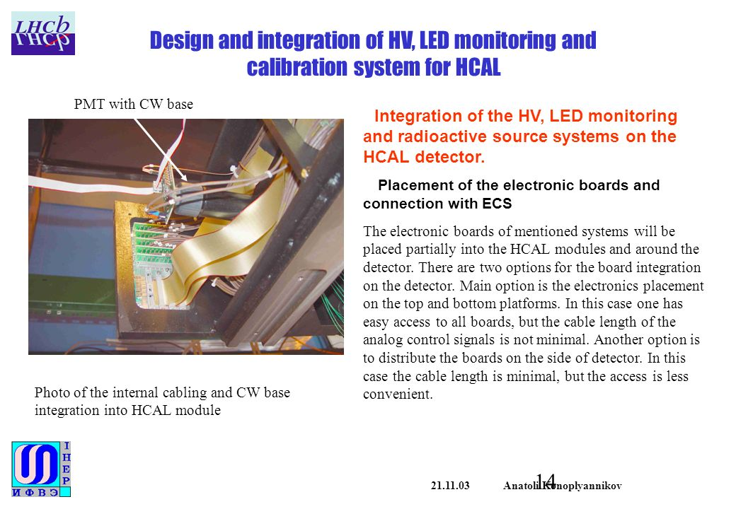 Anatoli Konoplyannikov Design and integration of HV, LED monitoring and calibration system for HCAL Integration of the HV, LED monitoring and radioactive source systems on the HCAL detector.