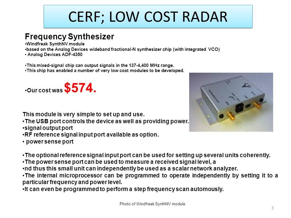 LOW COST RADAR 2012 CERF PROJECT ERIC WALTON OSU/ESL JULY