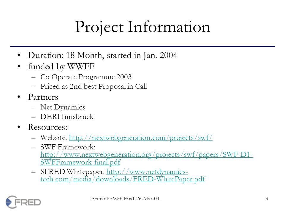 Semantic Web Fred Project Objectives Swf Framework Michael