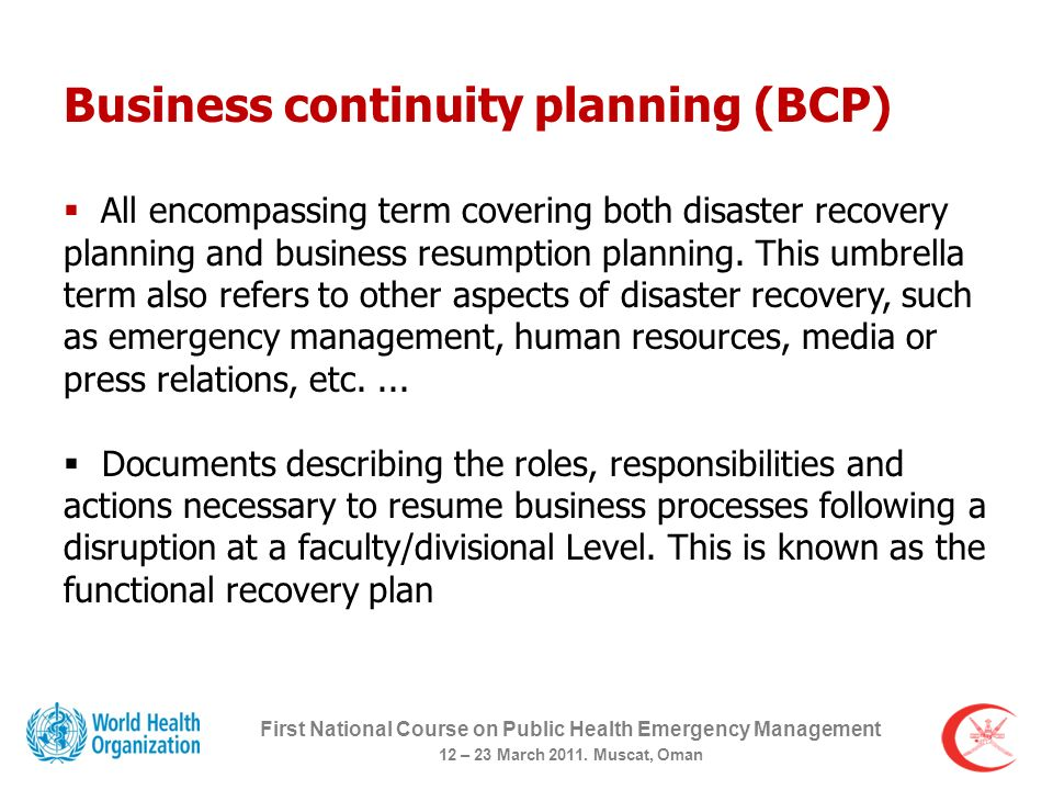 Planning for Business Continuity First National Course on Public ...