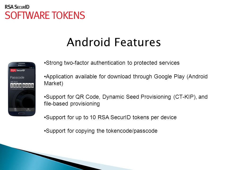 DAS/BEST ITSecurity Division  RSA SecurID Software Tokens