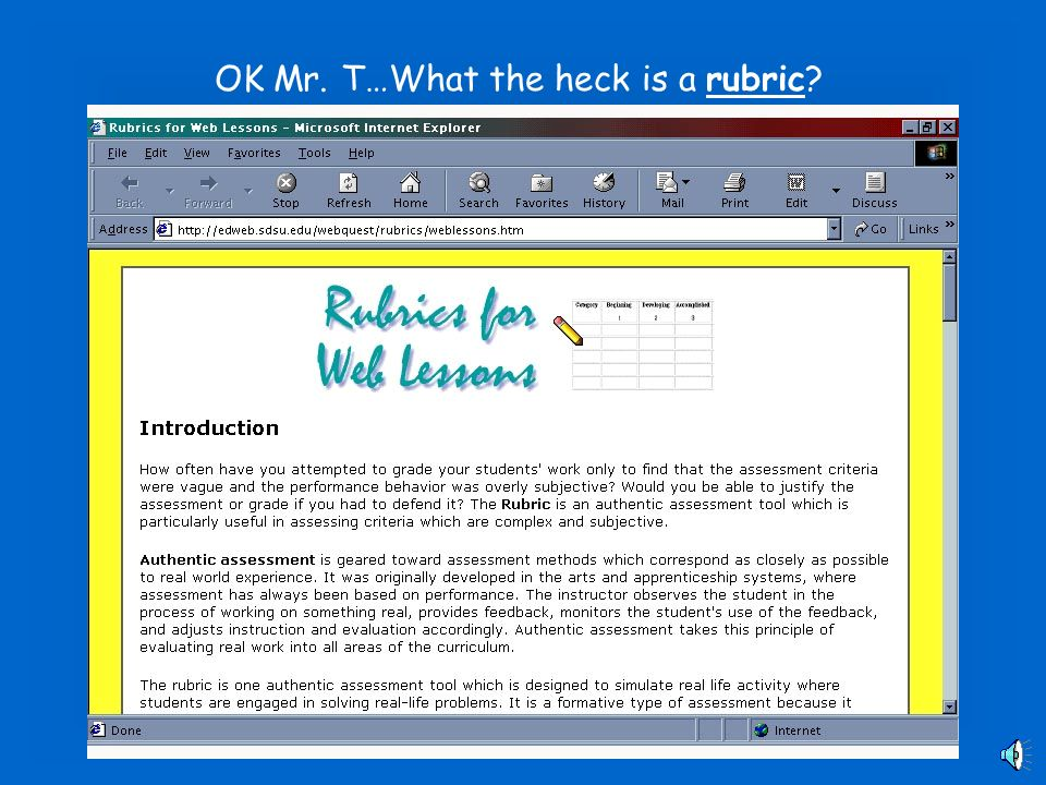 Designing a Rubric Web Page Design I Periods 2 & 7 Mr. Toto Room 208 ...