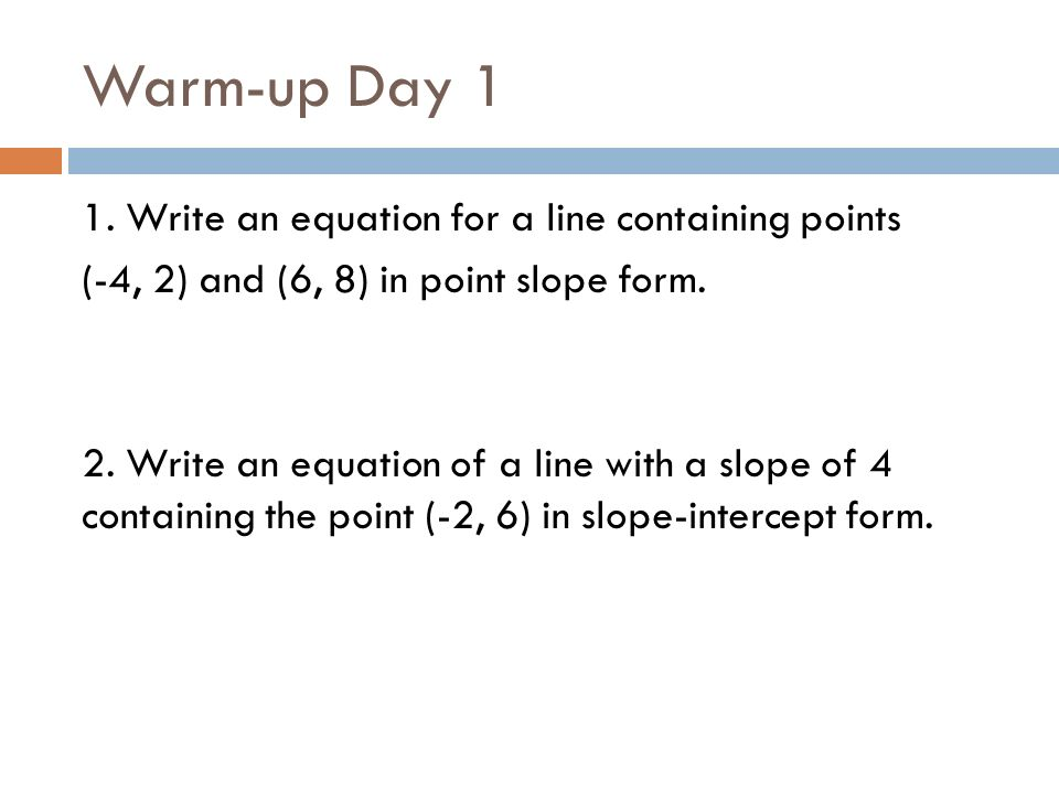 GEOMETRY CHAPTER 3 REVIEW DAYS Review Days. Warm-up Day 1 1 ...
