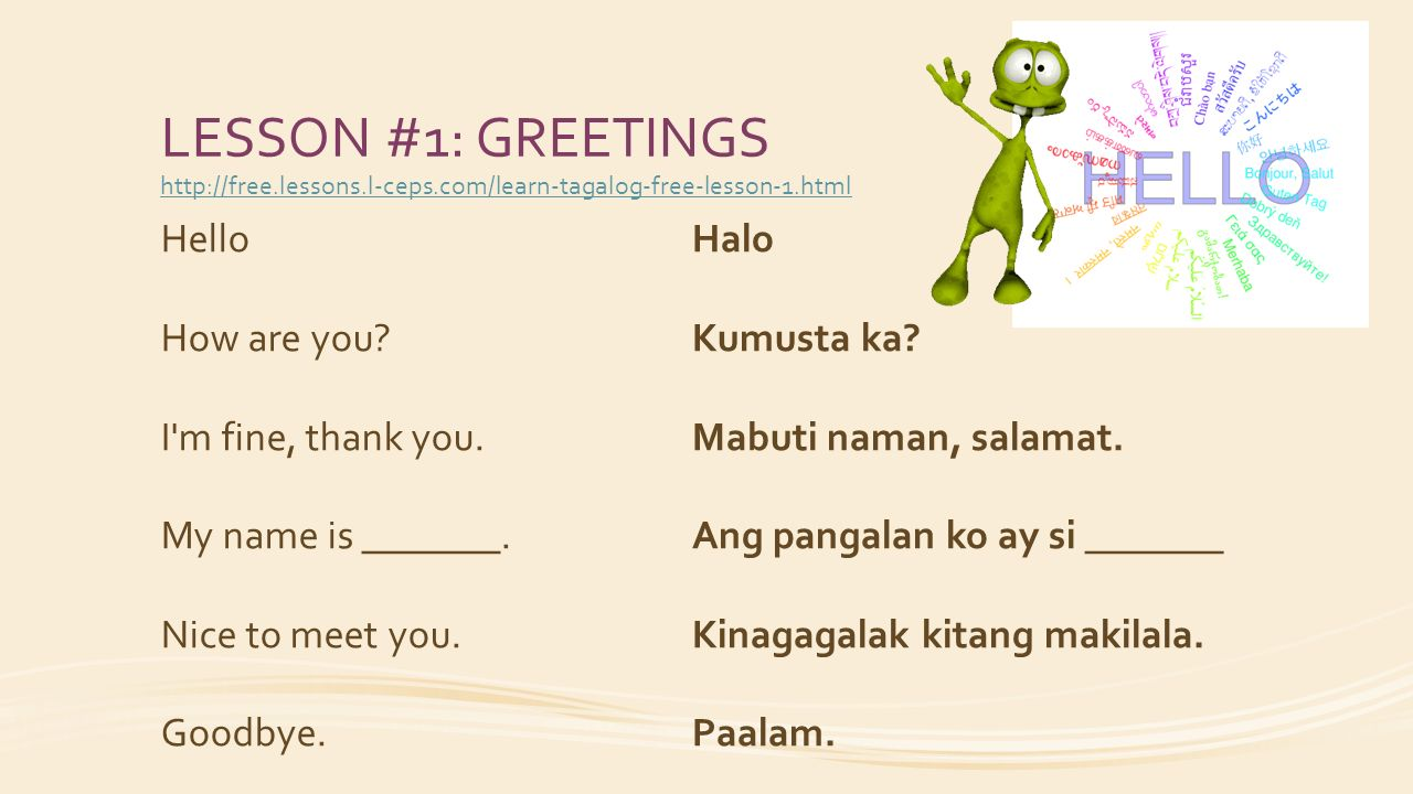 Im glad to meet you in tagalog archidev im glad to meet you in tagalog lesson 1 greetings hello how are m4hsunfo