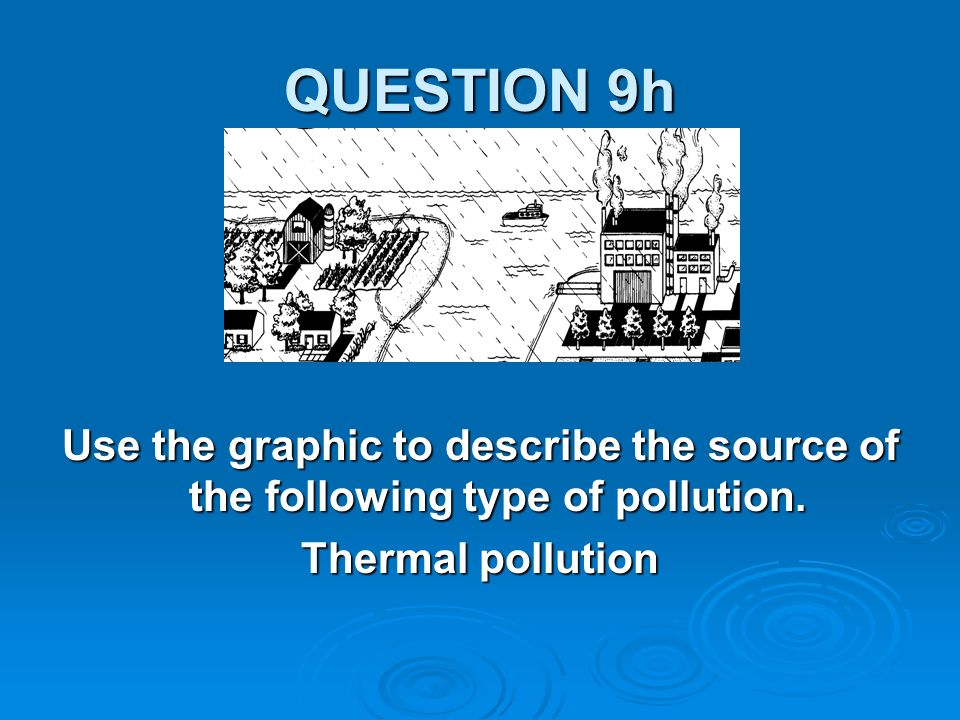 QUESTION 9h Use the graphic to describe the source of the following type of pollution.