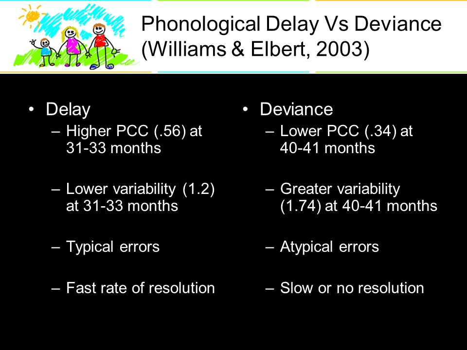 Phonological Delay Vs Deviance (Williams & Elbert, 2003) Delay –Higher PCC (.56) at months –Lower variability (1.2) at months –Typical errors –Fast rate of resolution Deviance –Lower PCC (.34) at months –Greater variability (1.74) at months –Atypical errors –Slow or no resolution