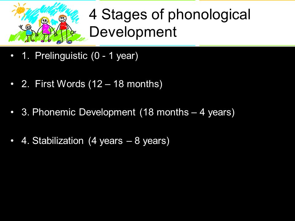 4 Stages of phonological Development 1. Prelinguistic (0 - 1 year) 2.