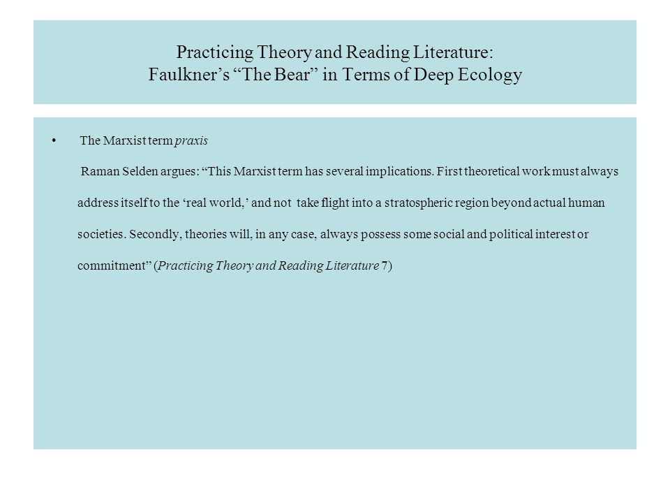 """Practicing Theory and Reading Literature: Faulkner's """"The"""