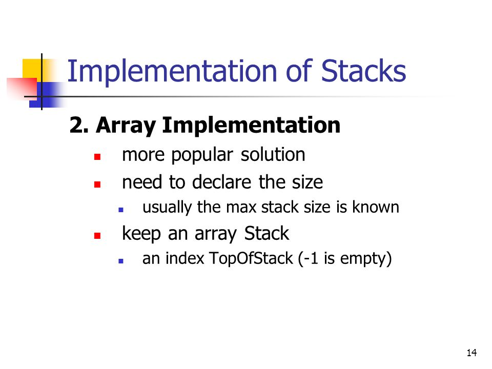14 Implementation of Stacks 2.