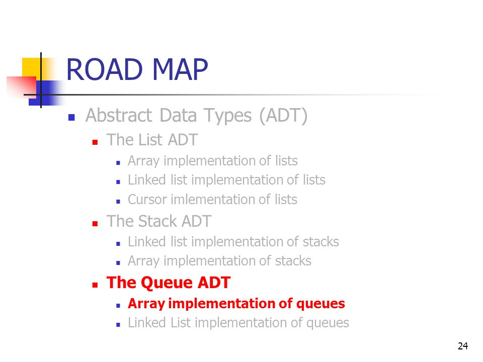24 ROAD MAP Abstract Data Types (ADT) The List ADT Array implementation of lists Linked list implementation of lists Cursor imlementation of lists The Stack ADT Linked list implementation of stacks Array implementation of stacks The Queue ADT Array implementation of queues Linked List implementation of queues
