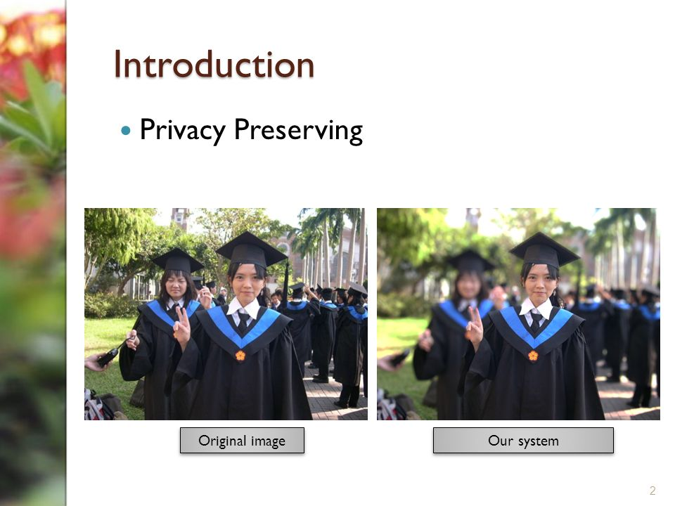 Introduction Privacy Preserving 2 Our system Original image