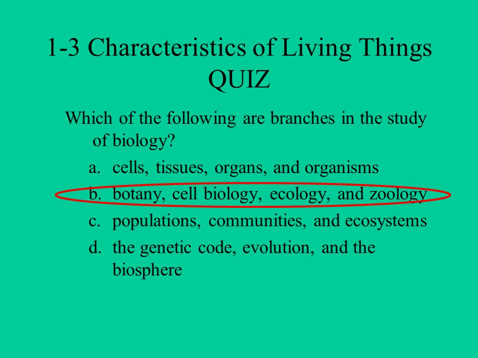 Which of the following are branches in the study of biology.