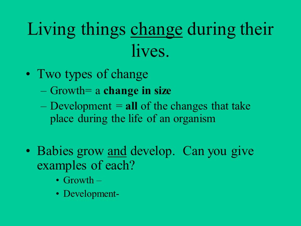 Living things change during their lives.