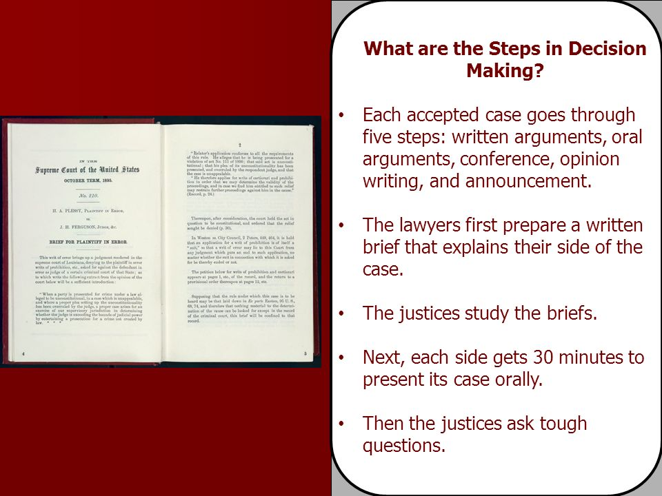 Each accepted case goes through five steps: written arguments, oral arguments, conference, opinion writing, and announcement.