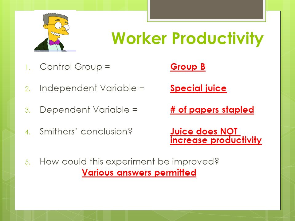 Identify the Controls and the Variables Simpson's Practice