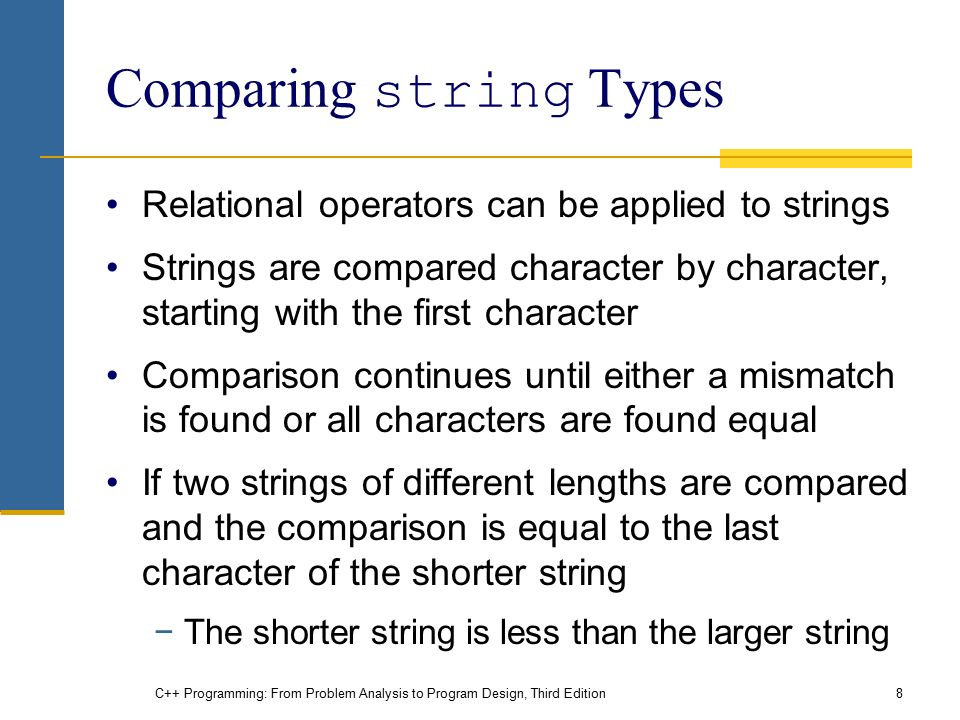 C++ Programming: From Problem Analysis to Program Design, Third Edition8 Comparing string Types Relational operators can be applied to strings Strings are compared character by character, starting with the first character Comparison continues until either a mismatch is found or all characters are found equal If two strings of different lengths are compared and the comparison is equal to the last character of the shorter string −The shorter string is less than the larger string