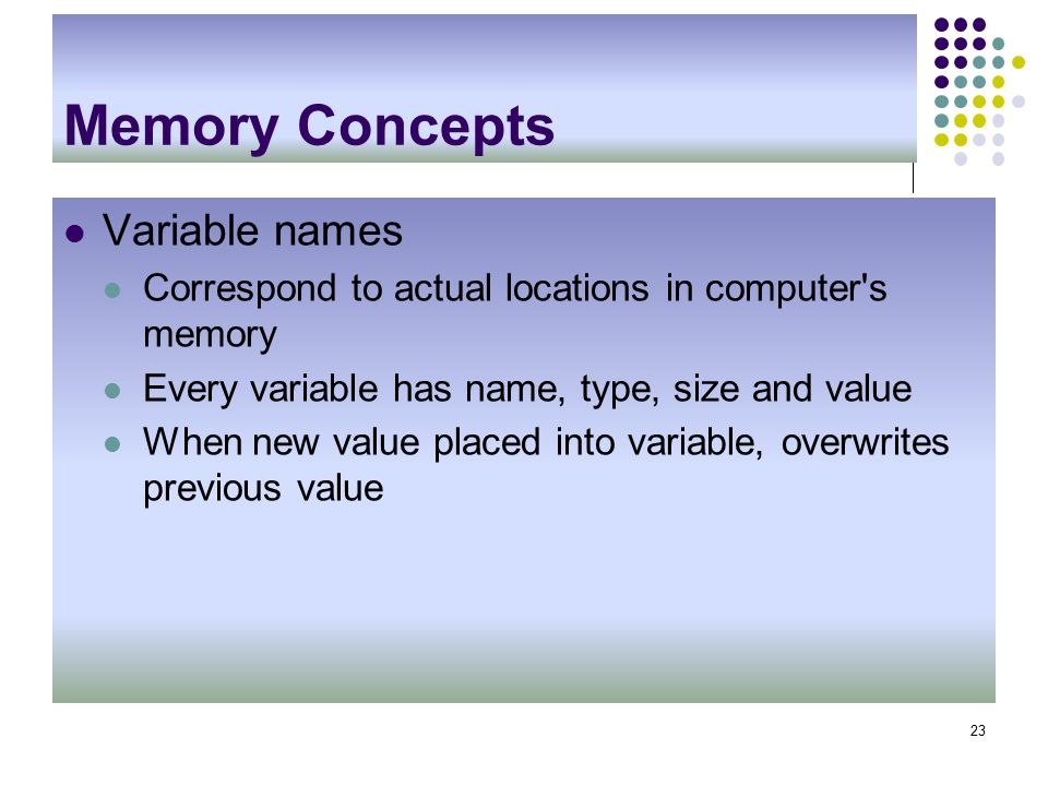 Memory Concepts Variable names Correspond to actual locations in computer s memory Every variable has name, type, size and value When new value placed into variable, overwrites previous value 23