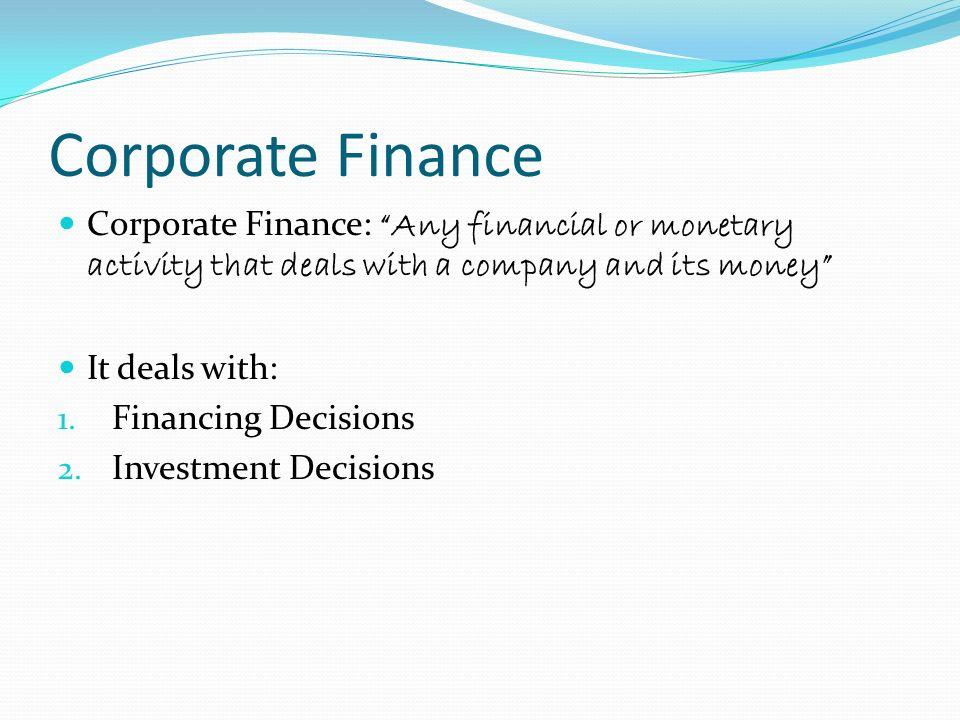 Corporate Finance Introduction Resham Jain Money