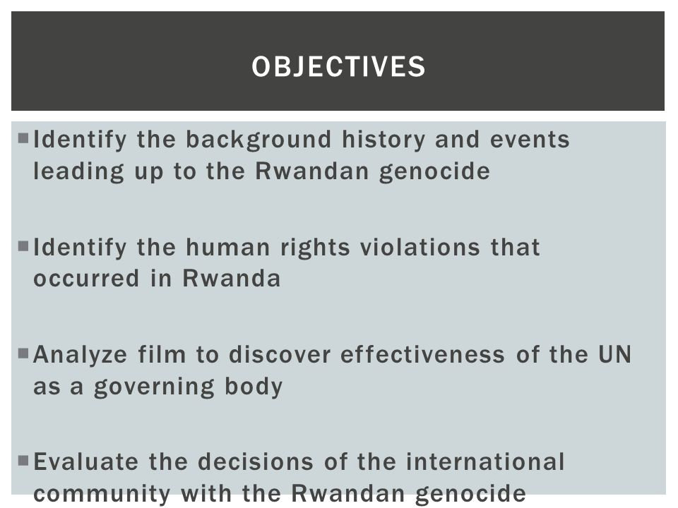 Genocide Rwanda Identify The Background History And Events