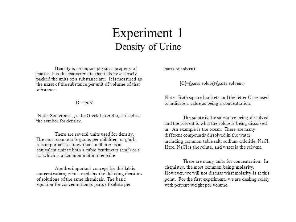 Experiment 1 Density Of Urine Density Is An Import Physical Property
