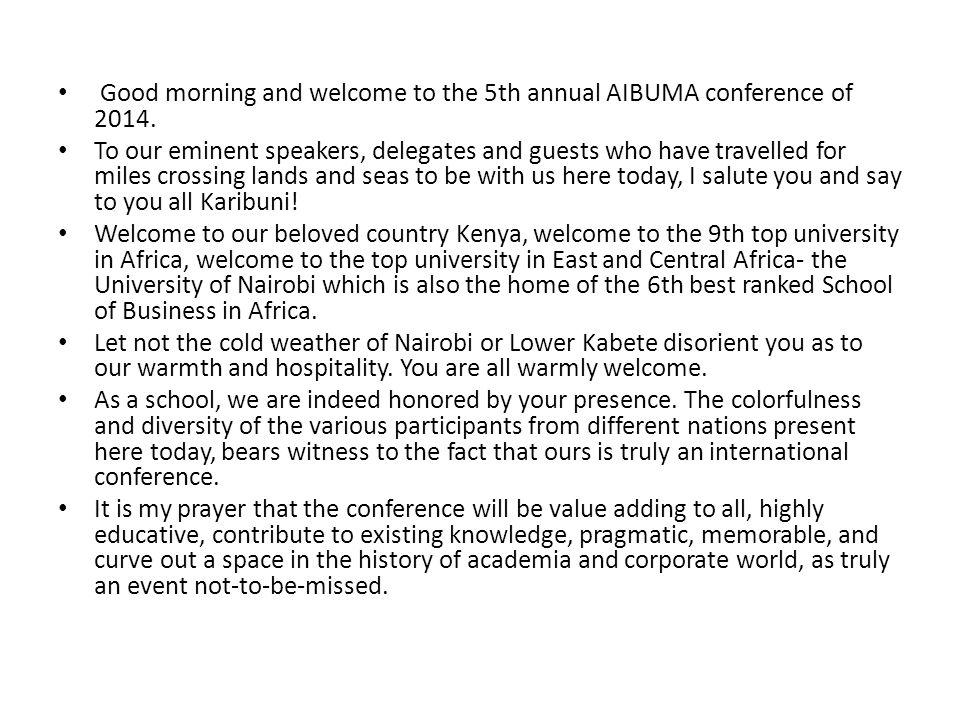 Welcome Speech by DR JOSIAH ADUDA DEAN, SCHOOL OF BUSINESS