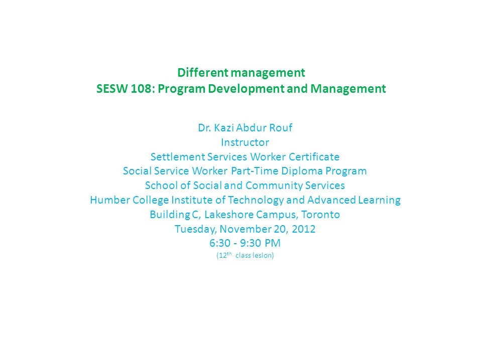 Different Management Sesw 108 Program Development And Management Dr