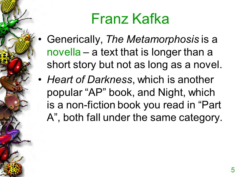 the internal and external conflicts in the metamorphosis by franz kafka Preview — the metamorphosis by franz kafka the metamorphosis quotes (showing 1-30 of 88) i cannot make you understand been hit ― franz kafka, the metamorphosis.