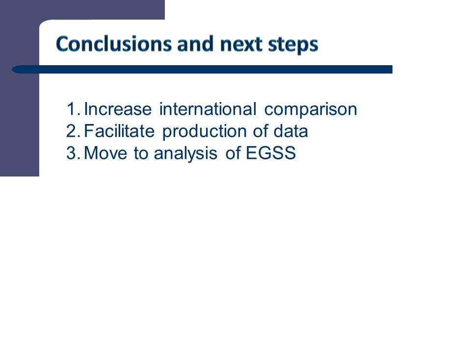 10 1.Increase international comparison 2.Facilitate production of data 3.Move to analysis of EGSS