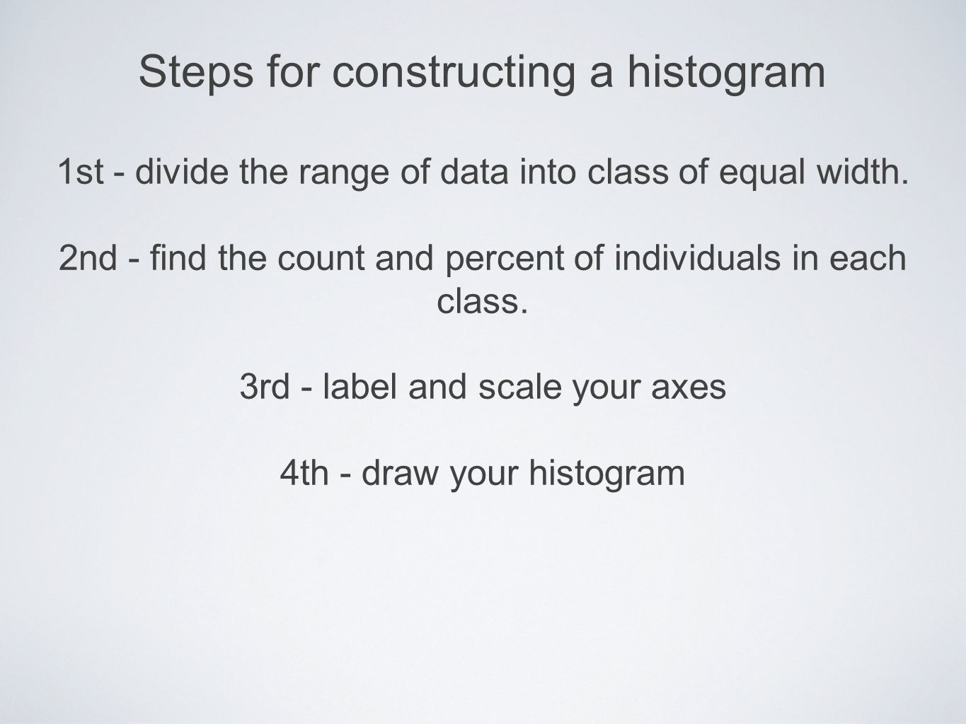 Steps for constructing a histogram 1st - divide the range of data into class of equal width.