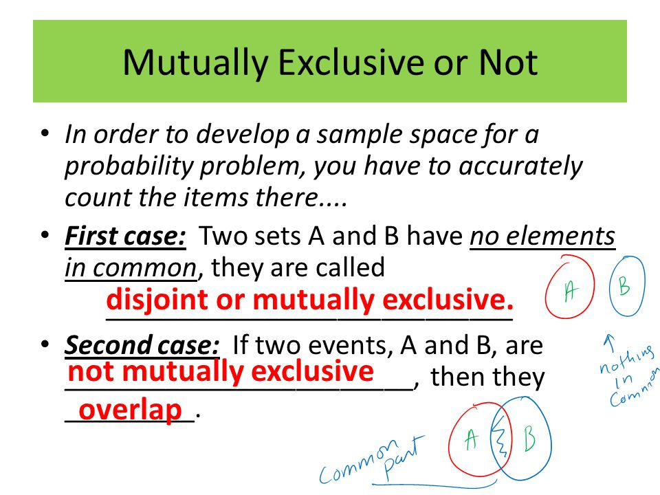 Mutually Exclusive or Not In order to develop a sample space for a probability problem, you have to accurately count the items there....