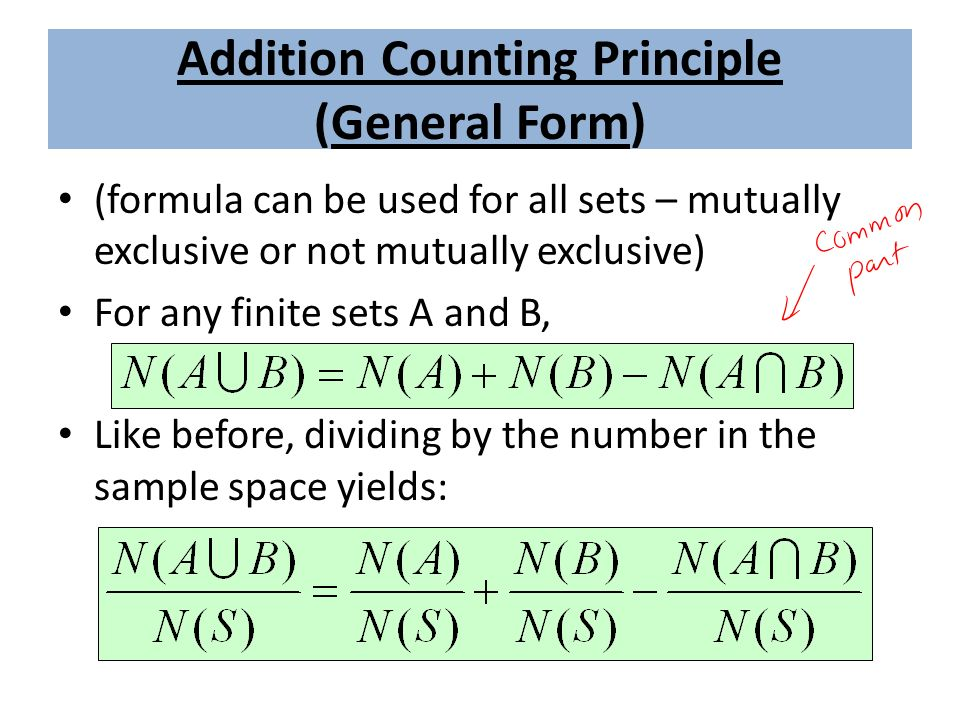Addition Counting Principle (General Form) (formula can be used for all sets – mutually exclusive or not mutually exclusive) For any finite sets A and B, Like before, dividing by the number in the sample space yields: