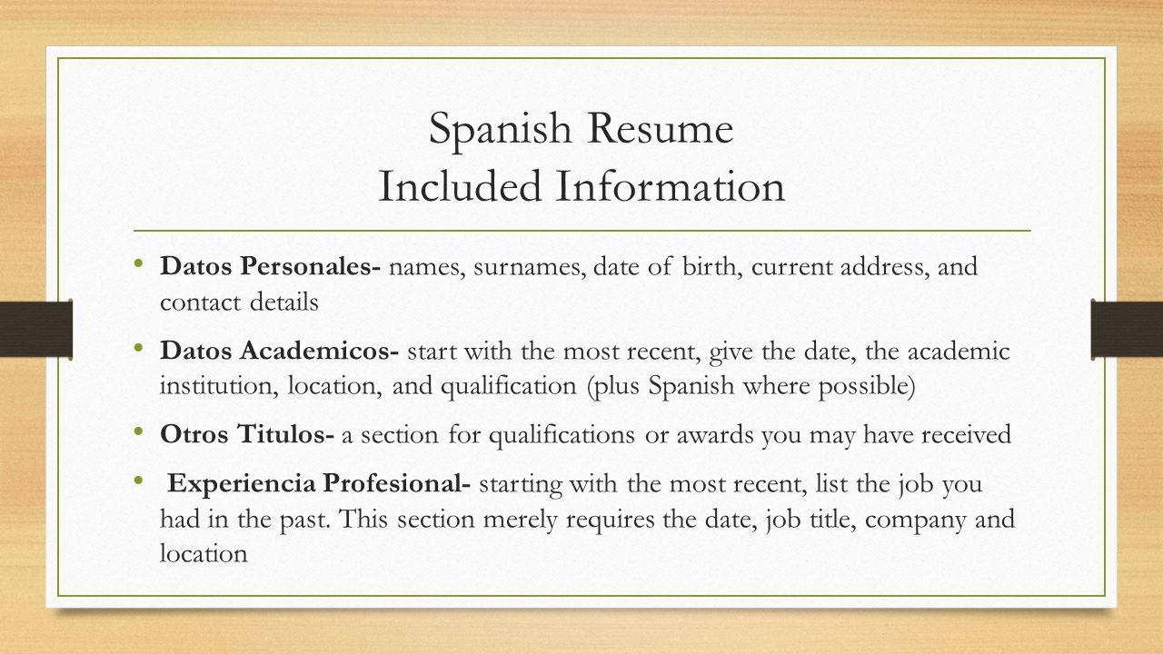 American Resume Writing Styles Welcome Spanish & German Job ...
