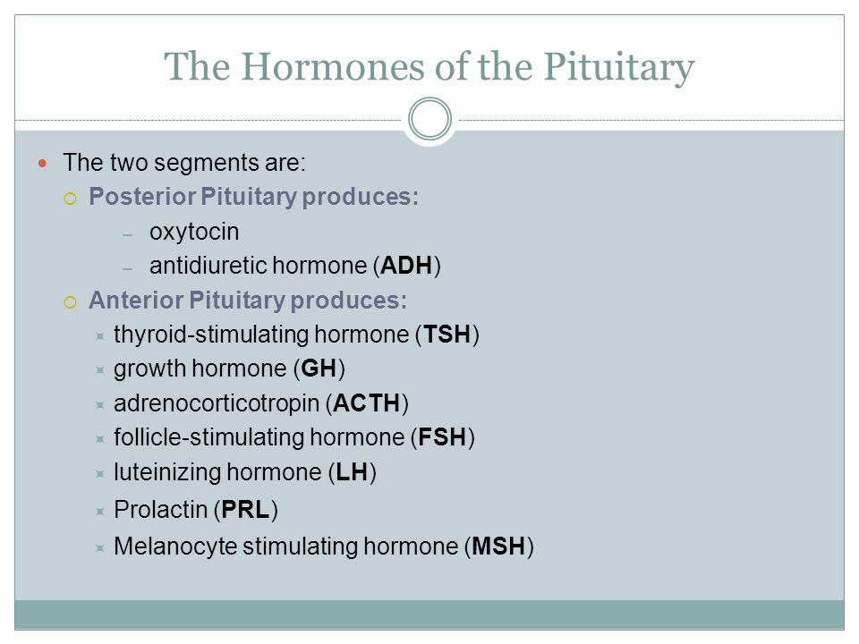The Hormones of the Pituitary The two segments are:  Posterior Pituitary produces: – oxytocin – antidiuretic hormone (ADH)  Anterior Pituitary produces:  thyroid-stimulating hormone (TSH)  growth hormone (GH)  adrenocorticotropin (ACTH)  follicle-stimulating hormone (FSH)  luteinizing hormone (LH)  Prolactin (PRL)  Melanocyte stimulating hormone (MSH)
