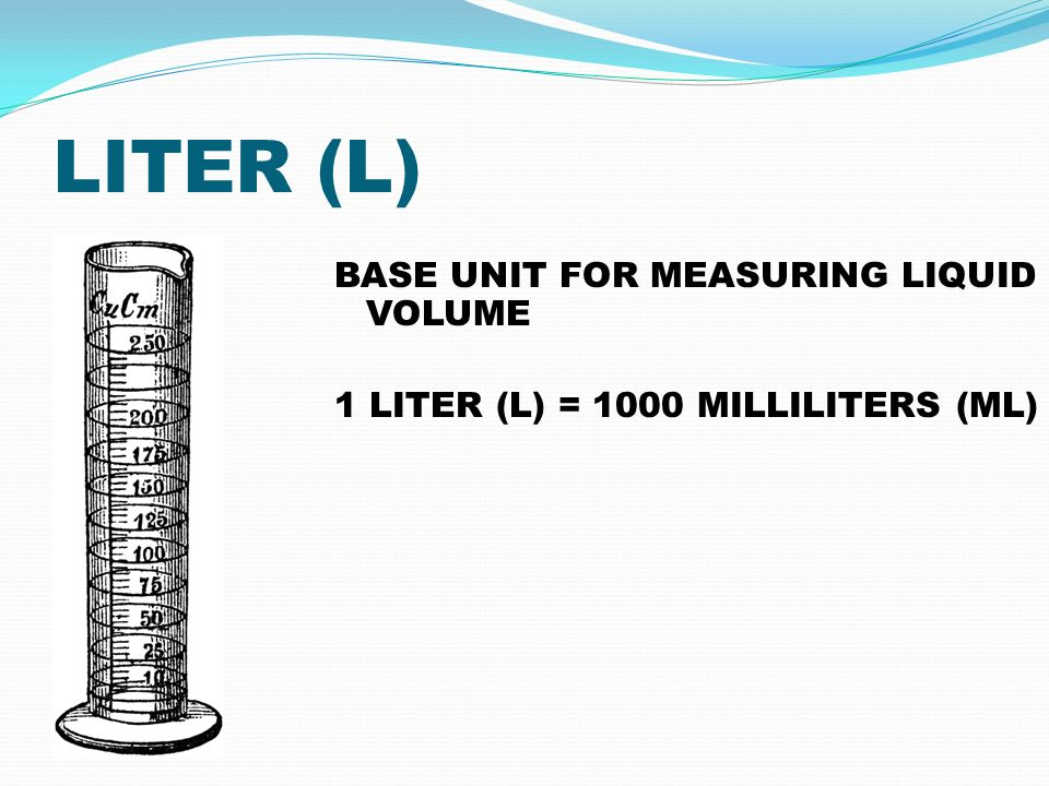 LITER (L) BASE UNIT FOR MEASURING LIQUID VOLUME 1 LITER (L) = 1000 MILLILITERS (ML)