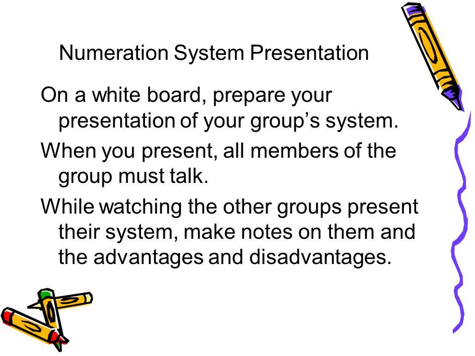 numeration system presentation on a white board prepare your