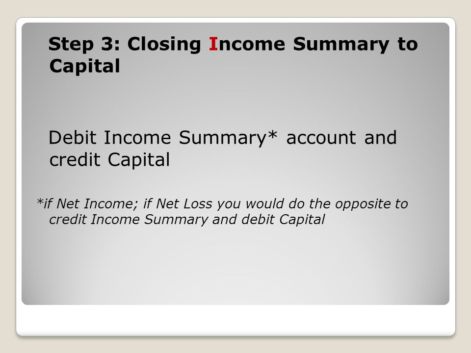 Step 3: Closing Income Summary to Capital Debit Income Summary* account and credit Capital *if Net Income; if Net Loss you would do the opposite to credit Income Summary and debit Capital