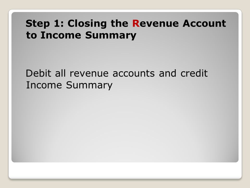 Step 1: Closing the Revenue Account to Income Summary Debit all revenue accounts and credit Income Summary