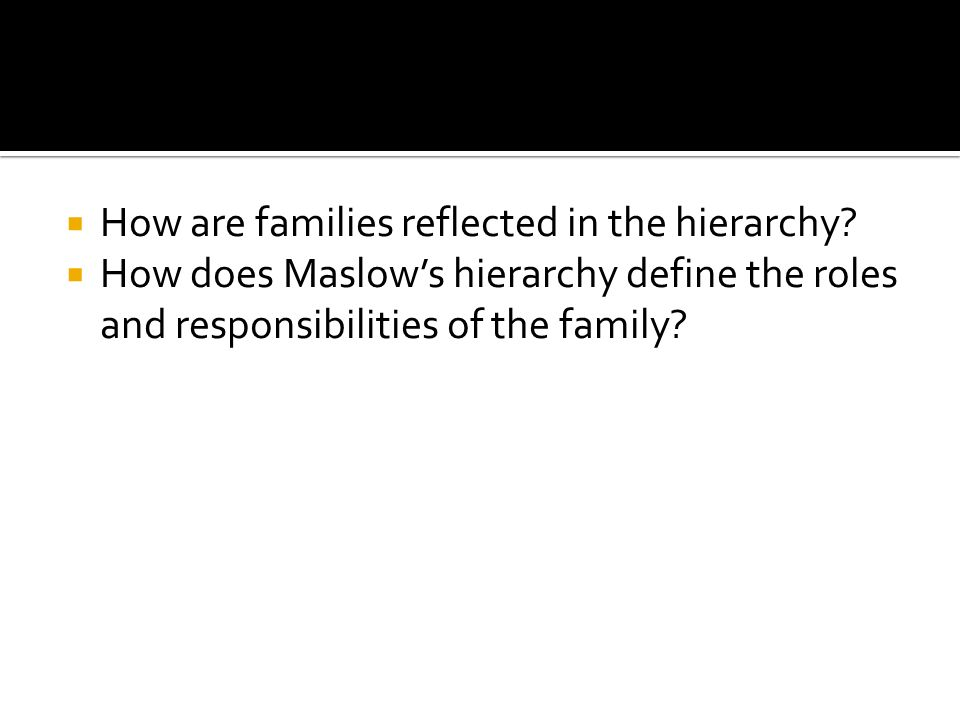  How are families reflected in the hierarchy.